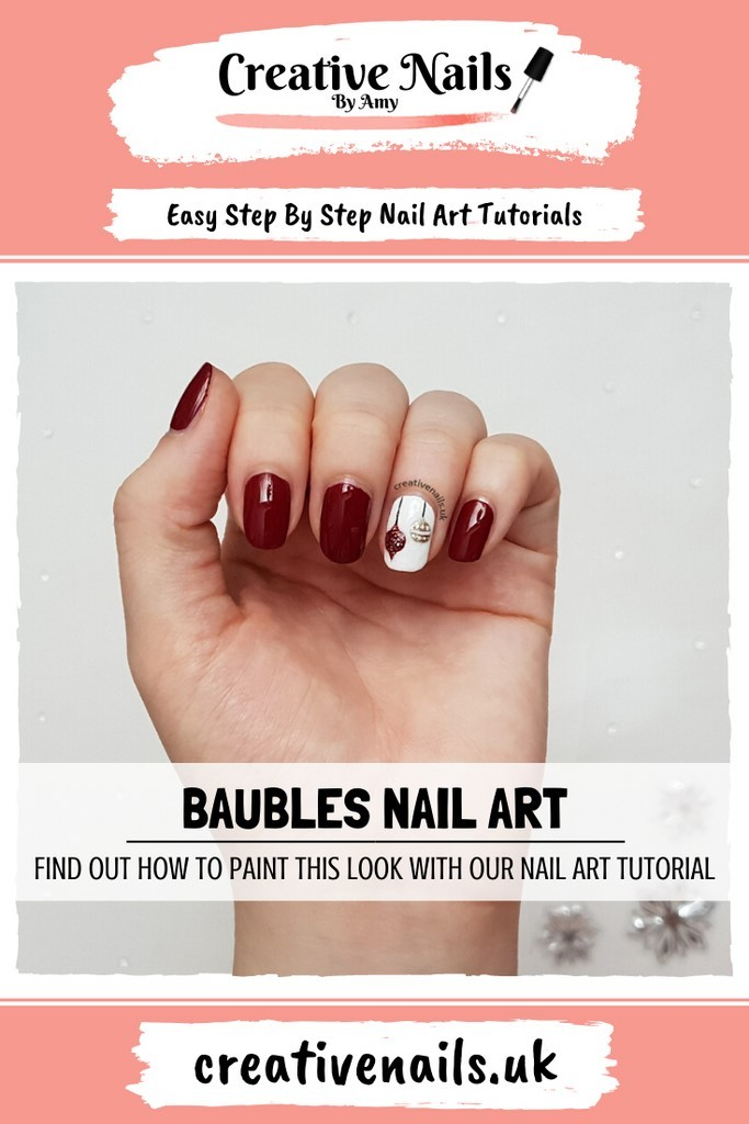 Christmas bauble easy step by step nail art tutorial
