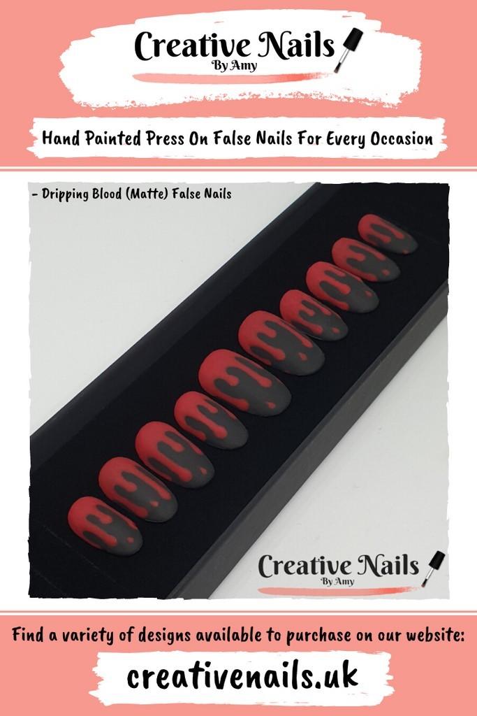 Matte Dripping Blood False Nails | Creative Nails