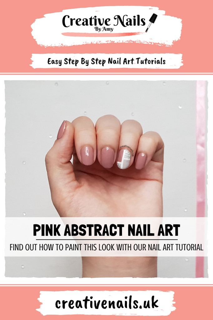pink abstract easy step by step nail art tutorial