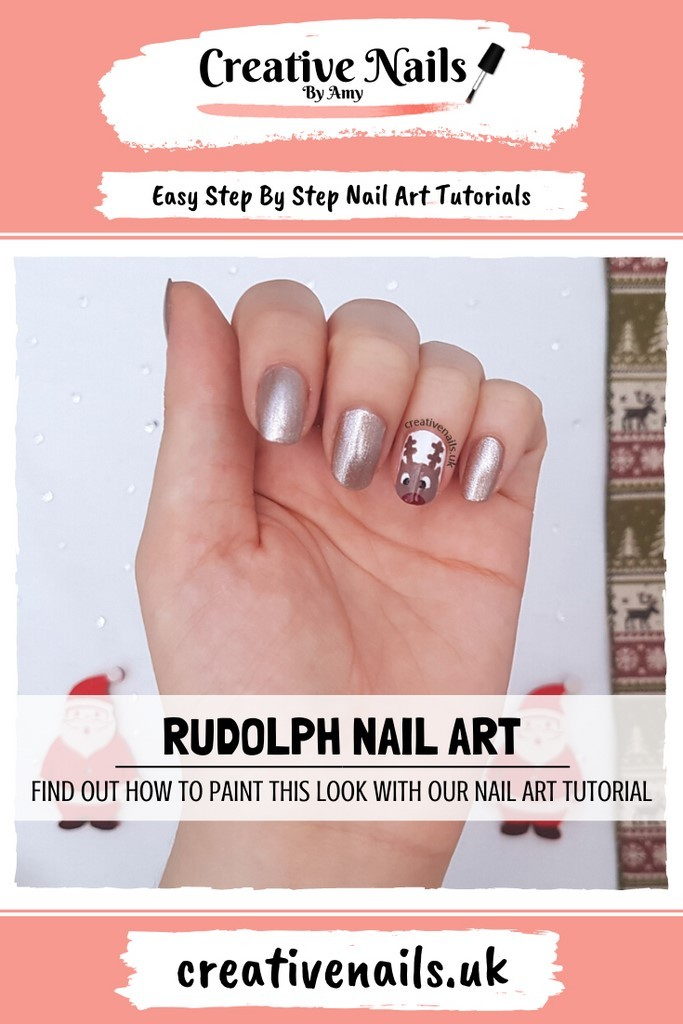 rudolph easy step by step nail art tutorial