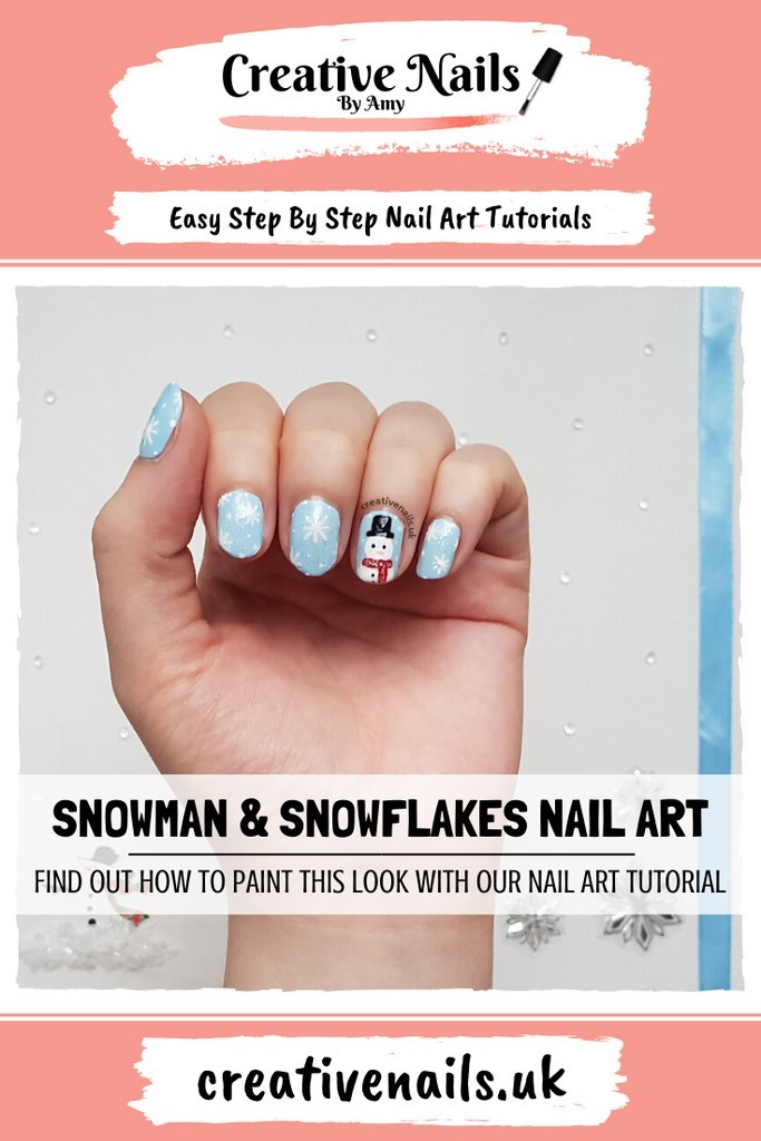 snowman and snowflakes easy step by step nail art tutorial