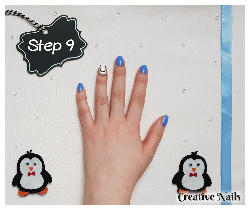 christmas penguin nail art