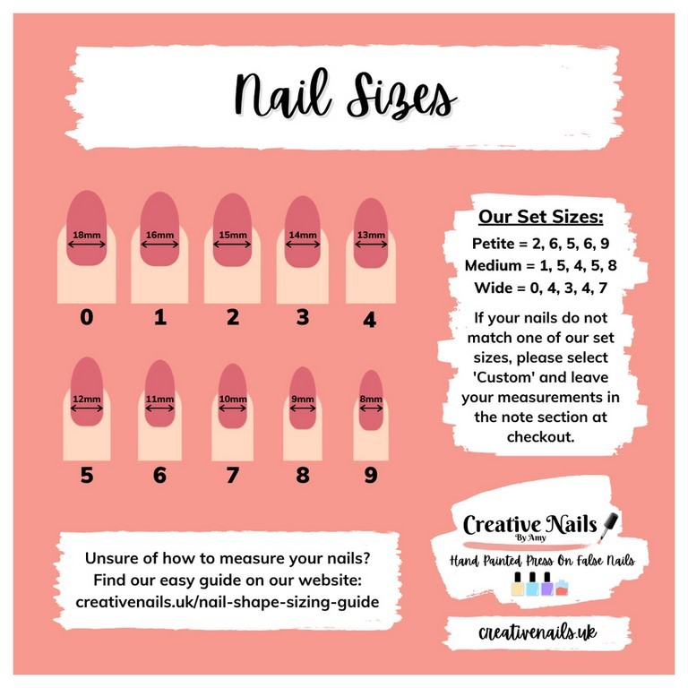 false nails sizing chart