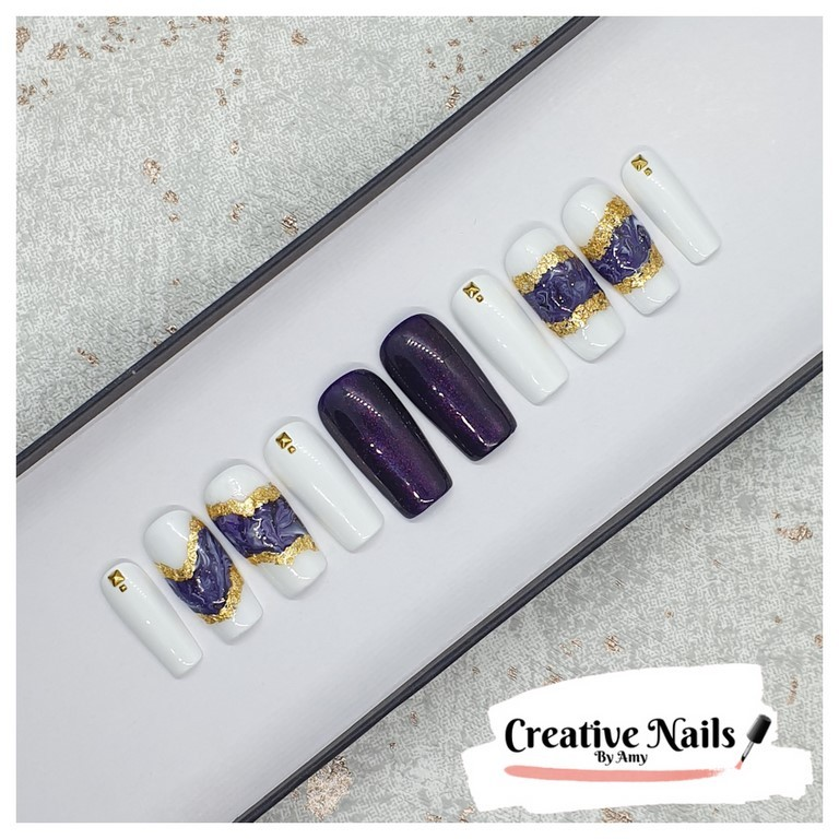 purple marble nails