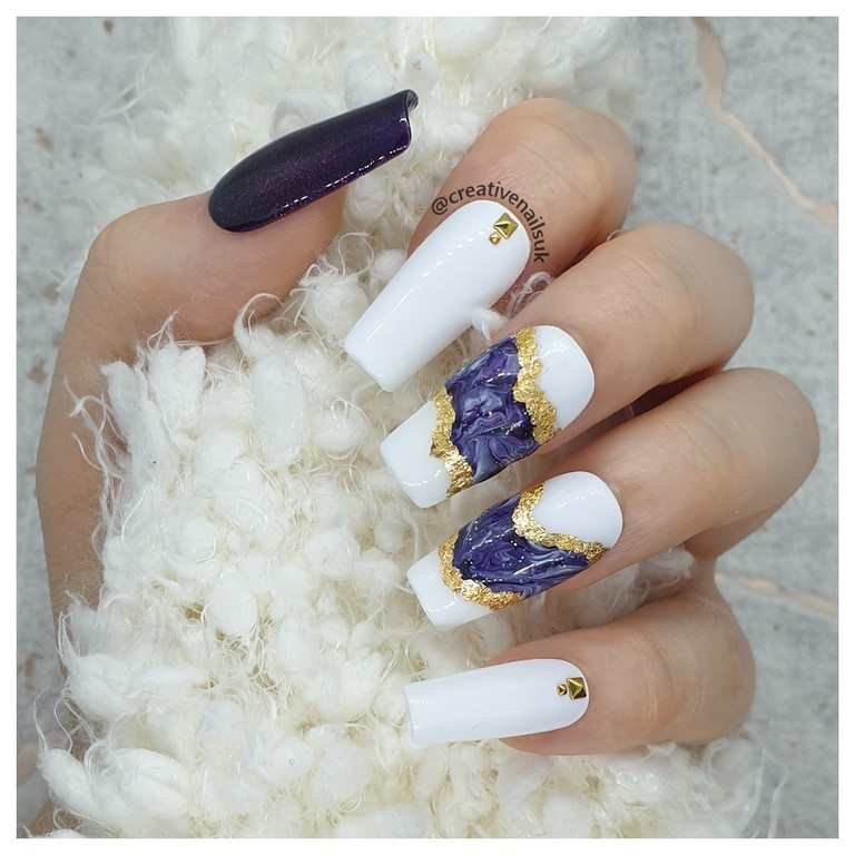 purple glitter nails with gold foil