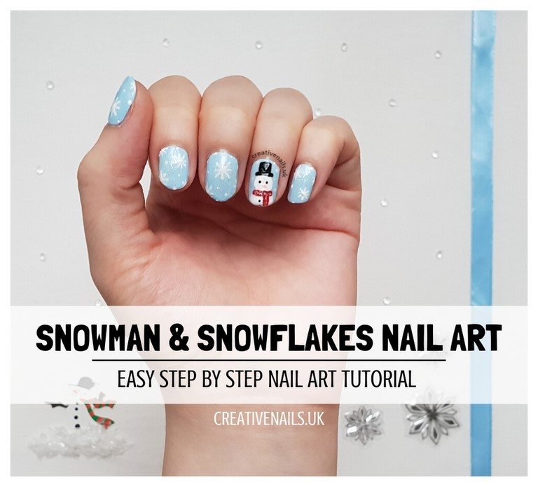 snowman and snowflakes nail art tutorial