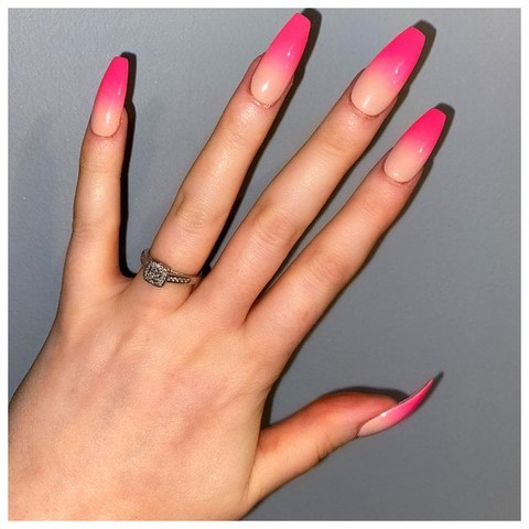 neon pink ombre false nails