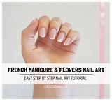 french manicure and flowers nail art tutorial