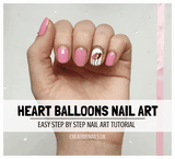 love heart balloons nail art tutorial