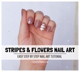 stripes and flowers nail art tutorial